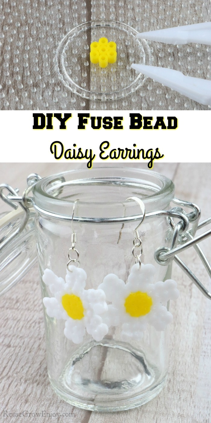 """Finished earrings at bottom, top is earrings being made with text overlay in the middle that says """"DIY Fuse Bead Daisy Earrings"""""""