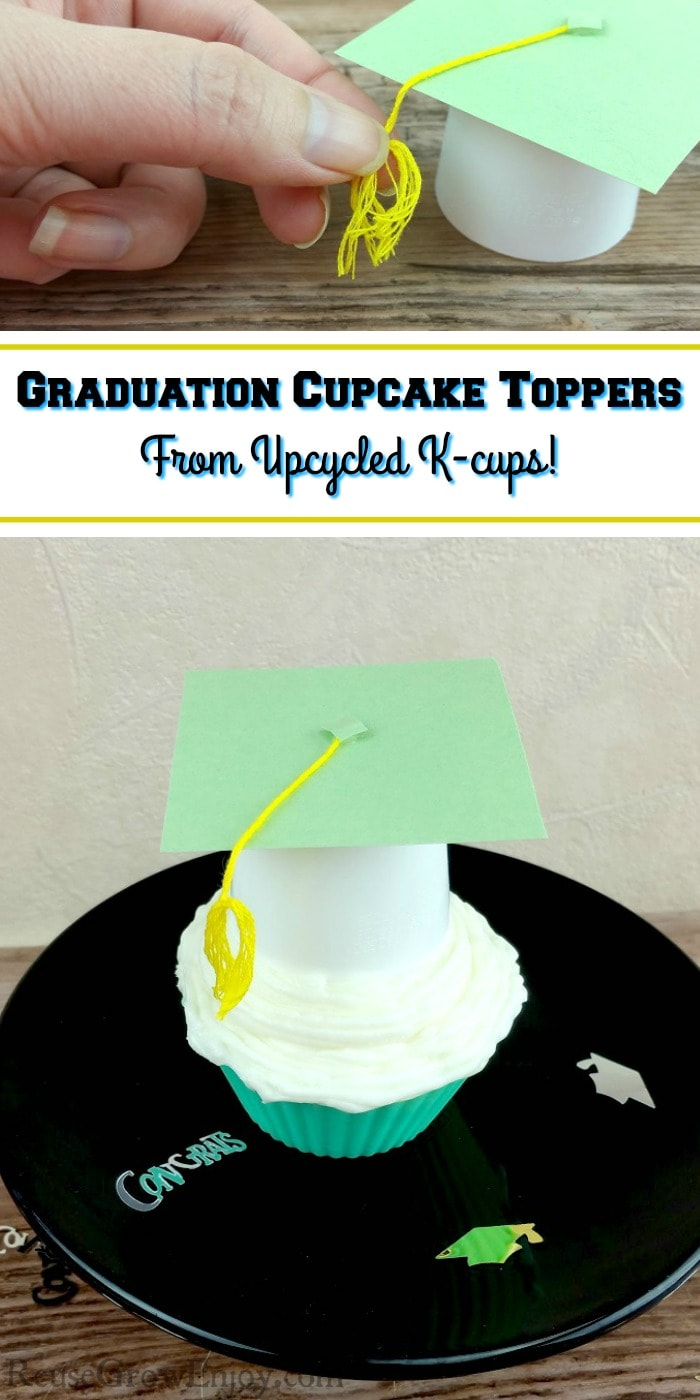 Graduation cupcake toppers on a cupcake on a black cake stand. Text overlay that says Graduation Cupcake Toppers From Upcycled K-cups!