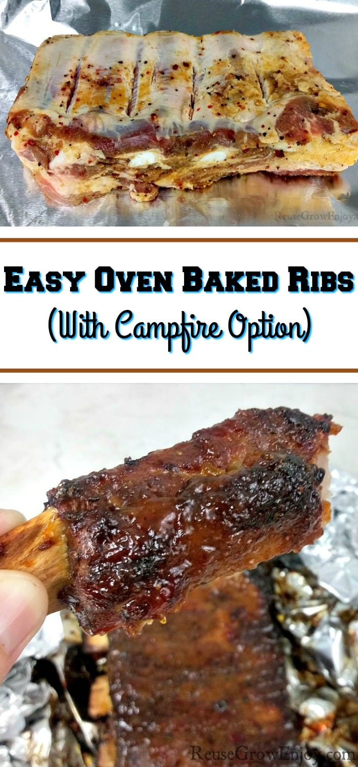 "Raw ribs in dry rub at the top and a single one at the bottom. Middle has a text overlay that says ""Oven Baked Ribs (With Campfire Option)""."