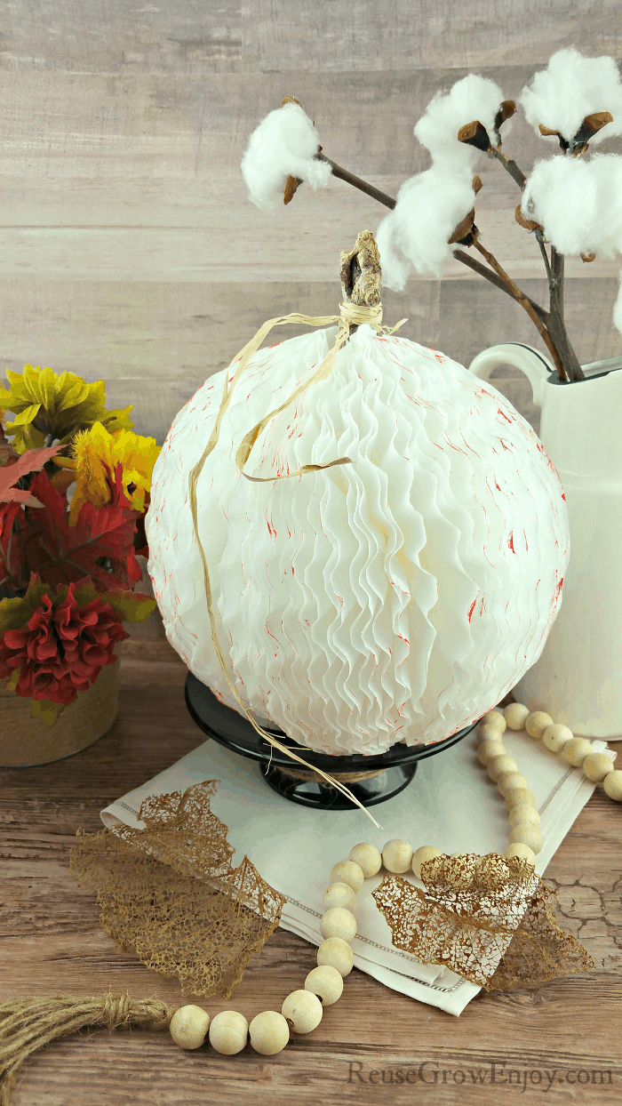Farm style coffee filter pumpkin with cotton stems in background