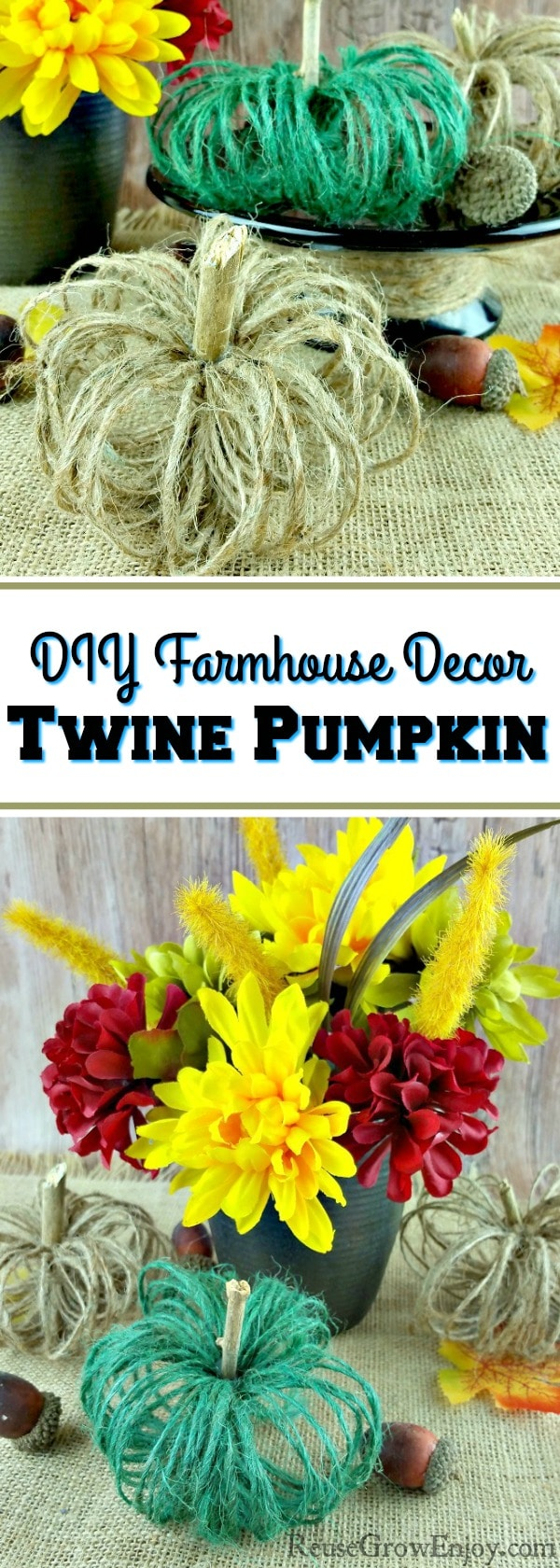 Do you like that rustic country look? Check out this DIY Farmhouse Decor Fall Twine Pumpkin Craft! Great way to get that fall country feel in the home.