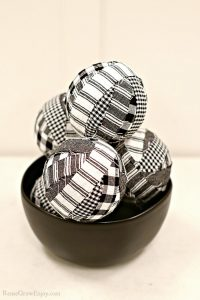 Finished rag balls stacked up in black bowl