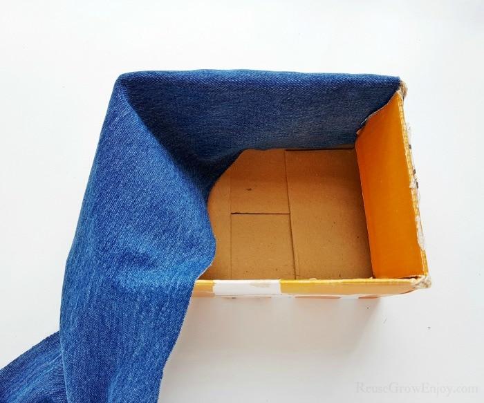 Fold fabric over box