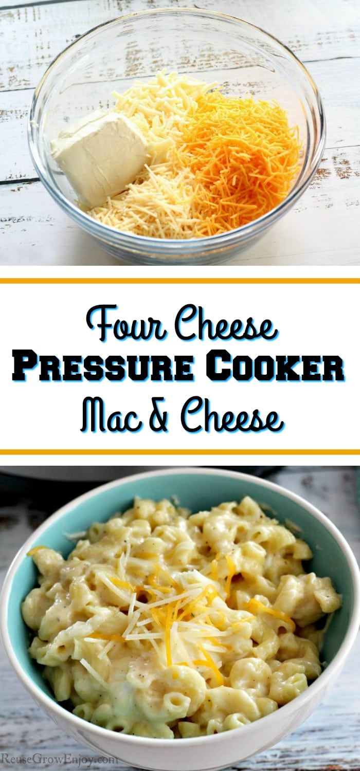 "Bowl of four cheeses at the top and the bottom is a bowl of made mac and cheese. In the middle there is a text overlay that says ""Four Cheese Pressure Cooker Mac And Cheese""."