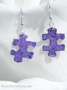 Glitter Upcycled Puzzle Piece Earrings