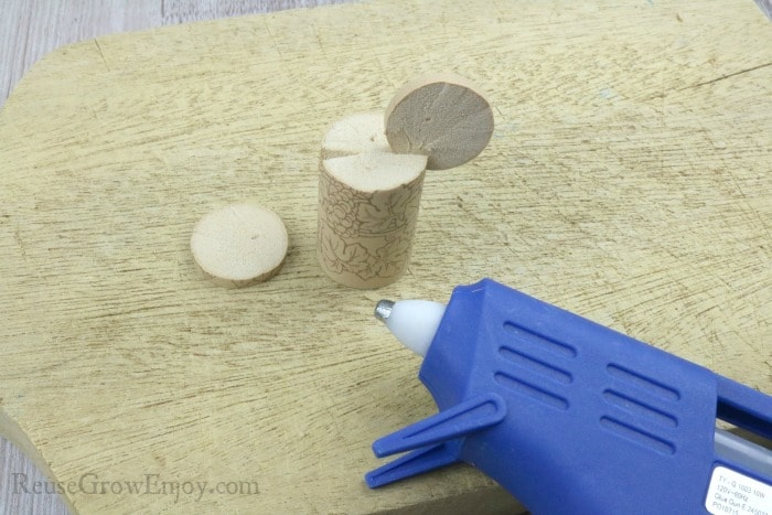 Glue round pieces into cut out wedge
