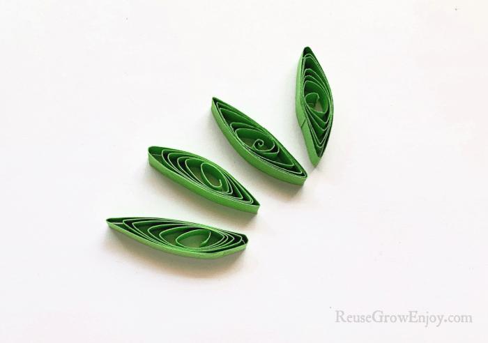 Green paper in leaf shape