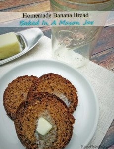 Homemade Banana Bread Baked In A Mason Jar