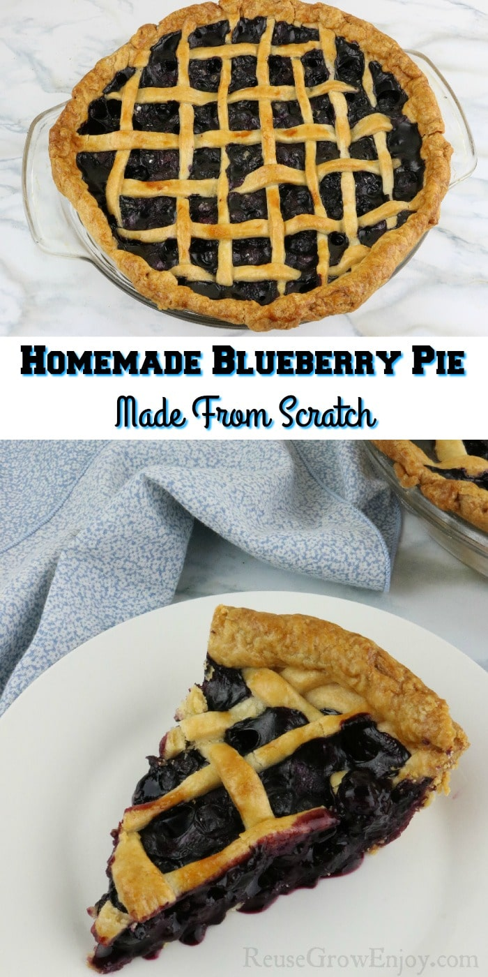 """Whole pie at the top. Slice of pie on white plate at the bottom. Text overlay in the middle that says """"Homemade Blueberry Pie made from scratch"""""""