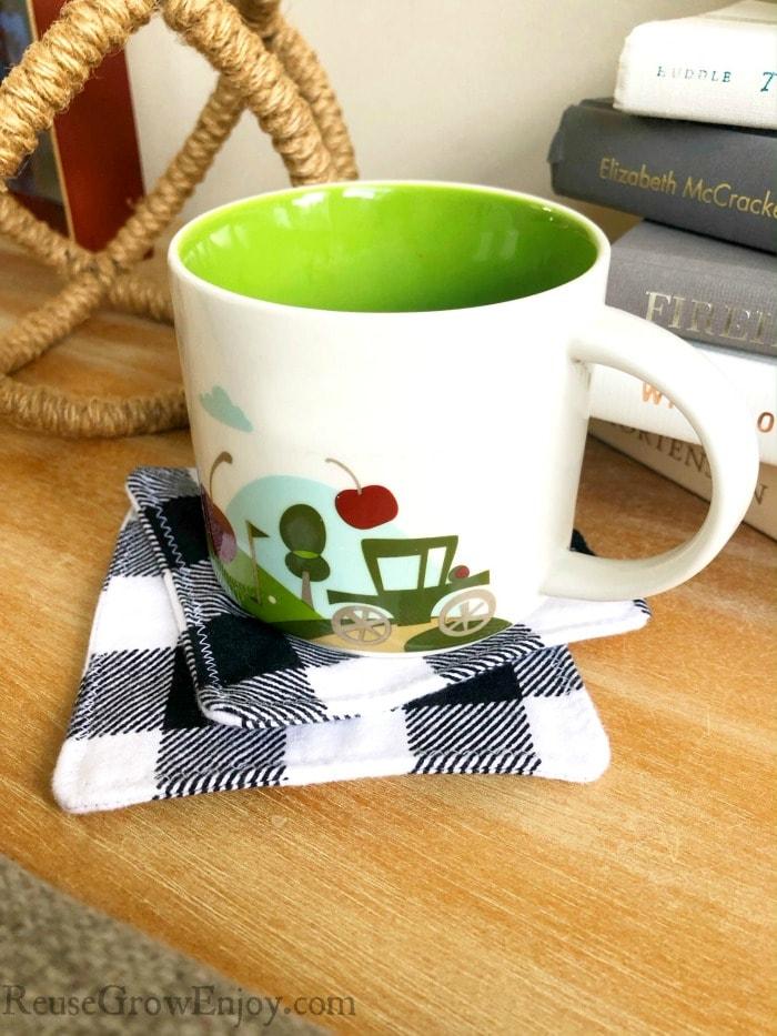 Coffee mug on plaid homemade coasters