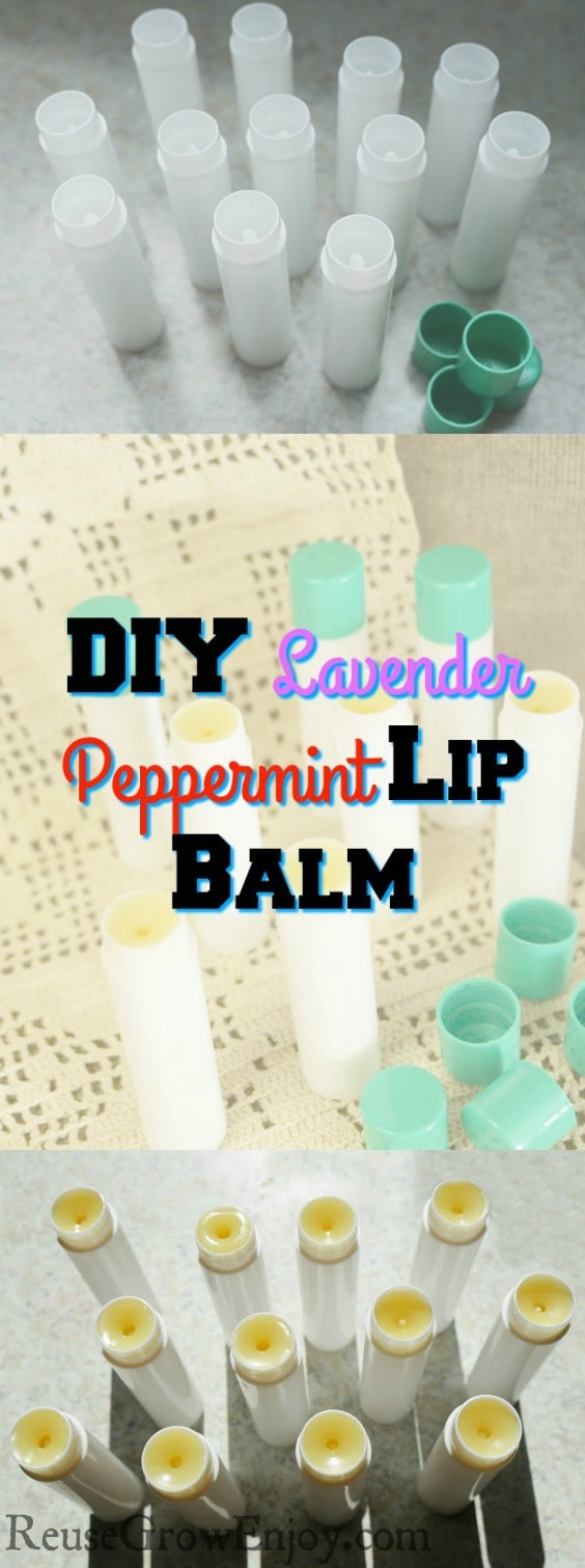 Looking to make your own homemade lip balm? This is one you have to try! It is super easy, smells great and feels good on the lips. It is a DIY Lavender Peppermint Lip Balm.