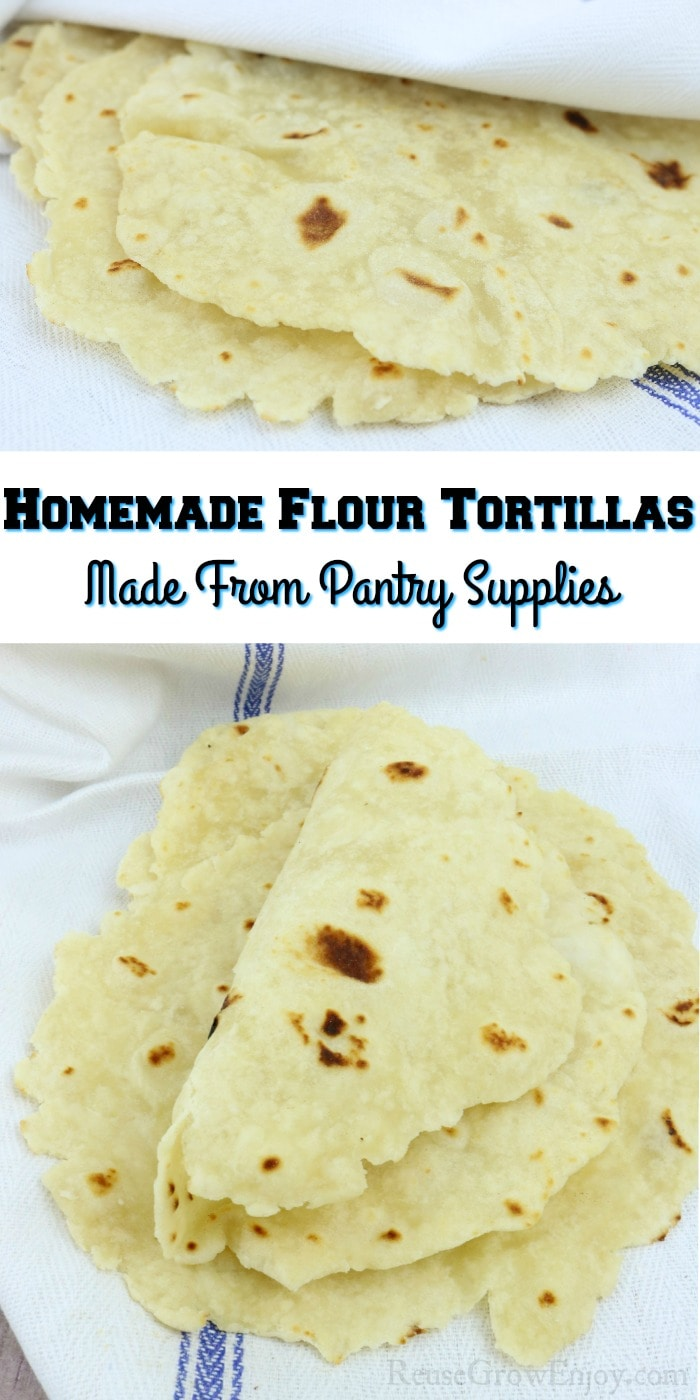 Homemade Flour Tortillas on white towel with text overlay in the middle.