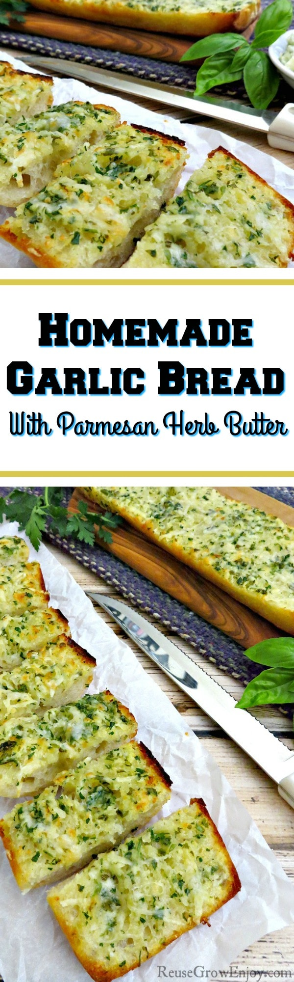 Love fresh garlic bread? Check out this recipe for homemade garlic bread with parmesan herb butter. It is so easy to make and sure to be a family favorite!