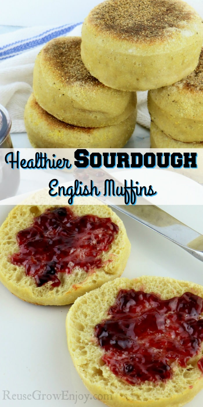 "open english muffin on white plate with jelly, stack of english muffins and jelly jar in background. Text overlay in the middle that says ""Healthier Sourdough English Muffins"""