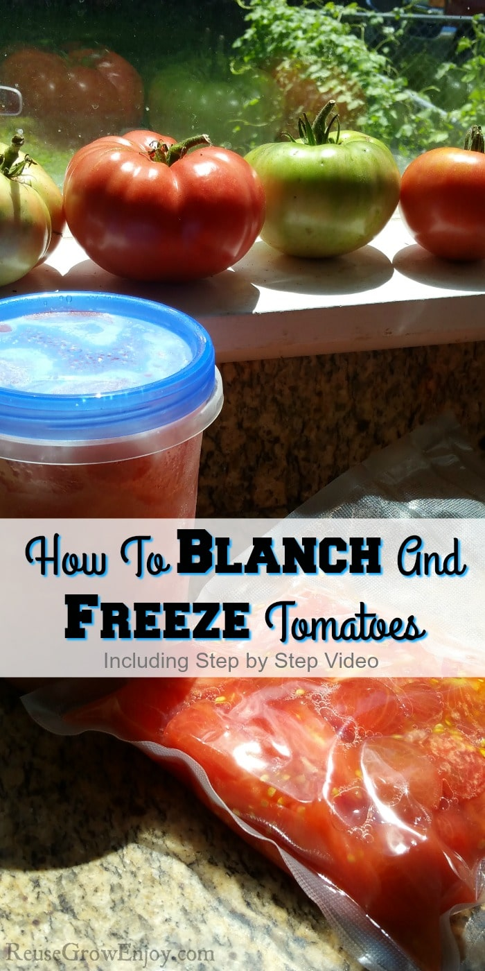 "Tomatoes in background. Peeled tomatoes in container and sealed bag. Text overly in middle that says ""How To Blanch And Freeze Tomatoes"""