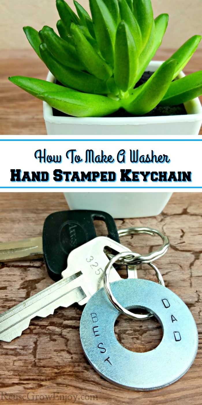 Washer Hand Stamped Keychain with keys. Plant behind the keys. Text overlay in the middle.