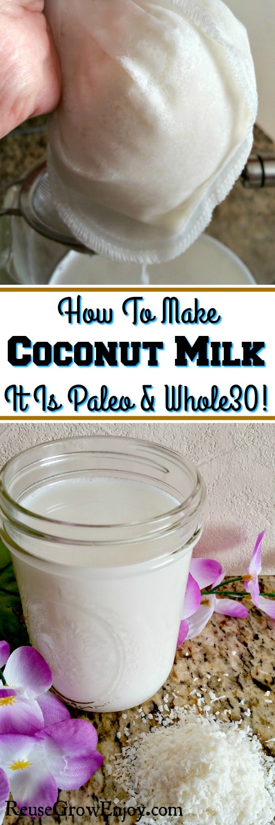 Can't find a coconut milk that works with your diet? Everything you find have extra stuff added? I will show you How To Make Coconut Milk! Works with both Whole30 and Paleo