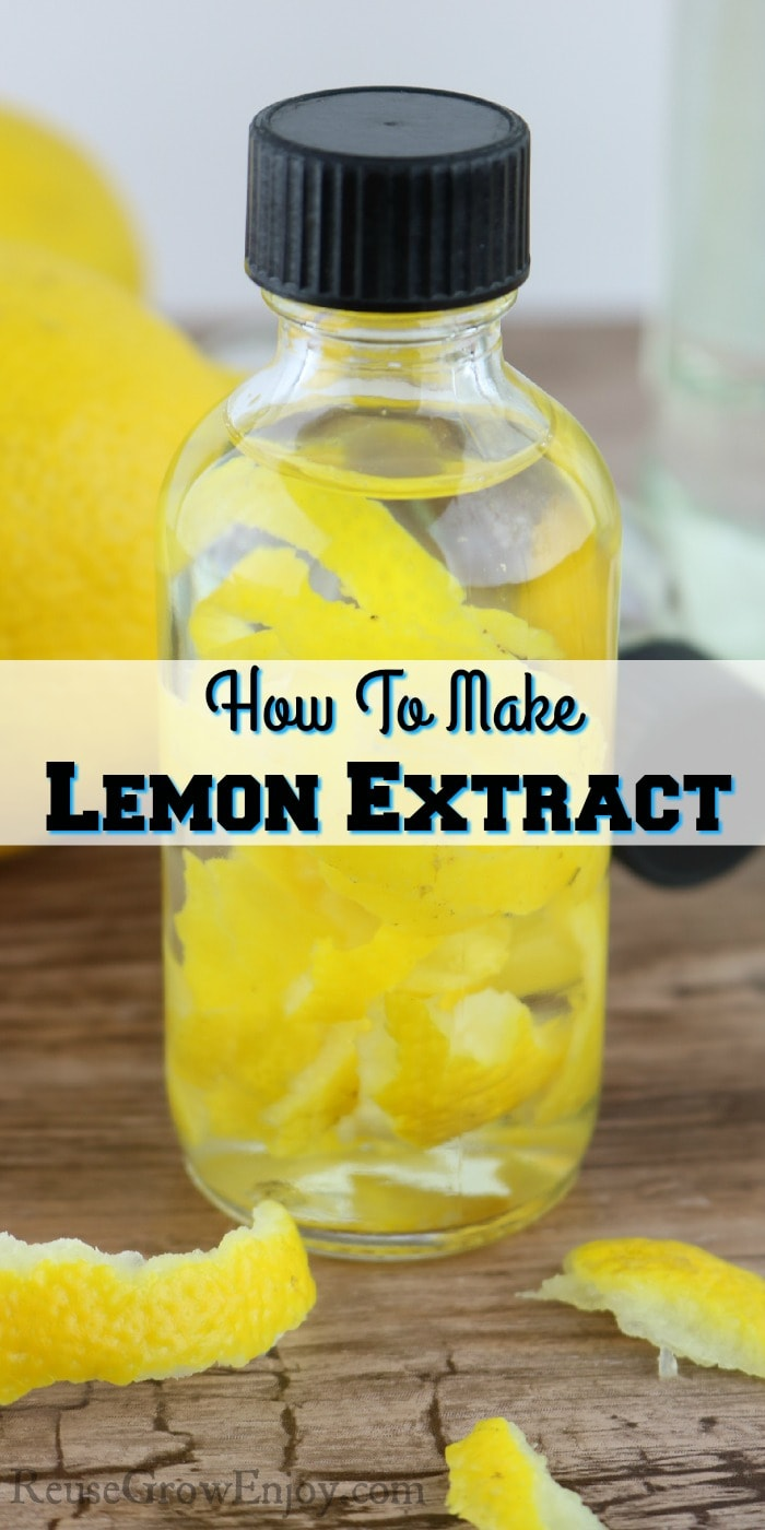 "Small glass bottle of lemon extract with lemon peels inside. Text overlay in the middle that says ""How To Make Lemon Extract"""