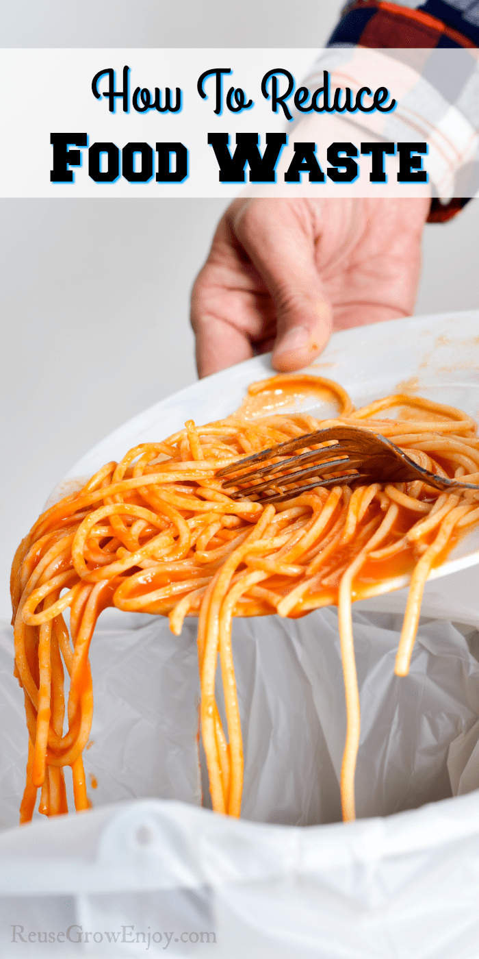 Plate of pasta being scraped into the trash with a text overlay that the top that says How To Reduce Food Waste
