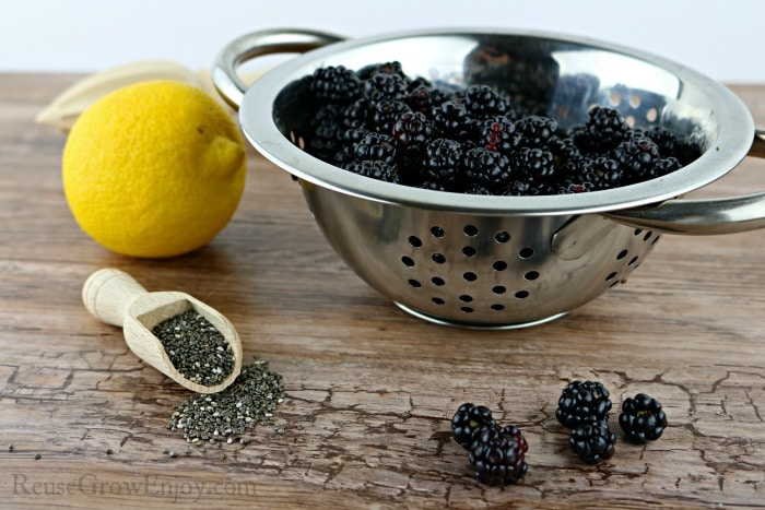 Ingredients to make jelly, lemon, blackberries and chia