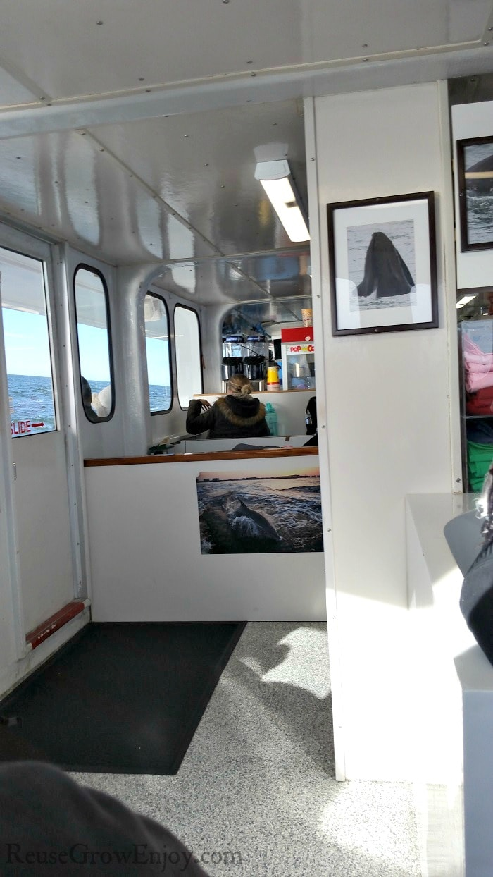 Inside cabin of the boat with tables and snack bar in the back.