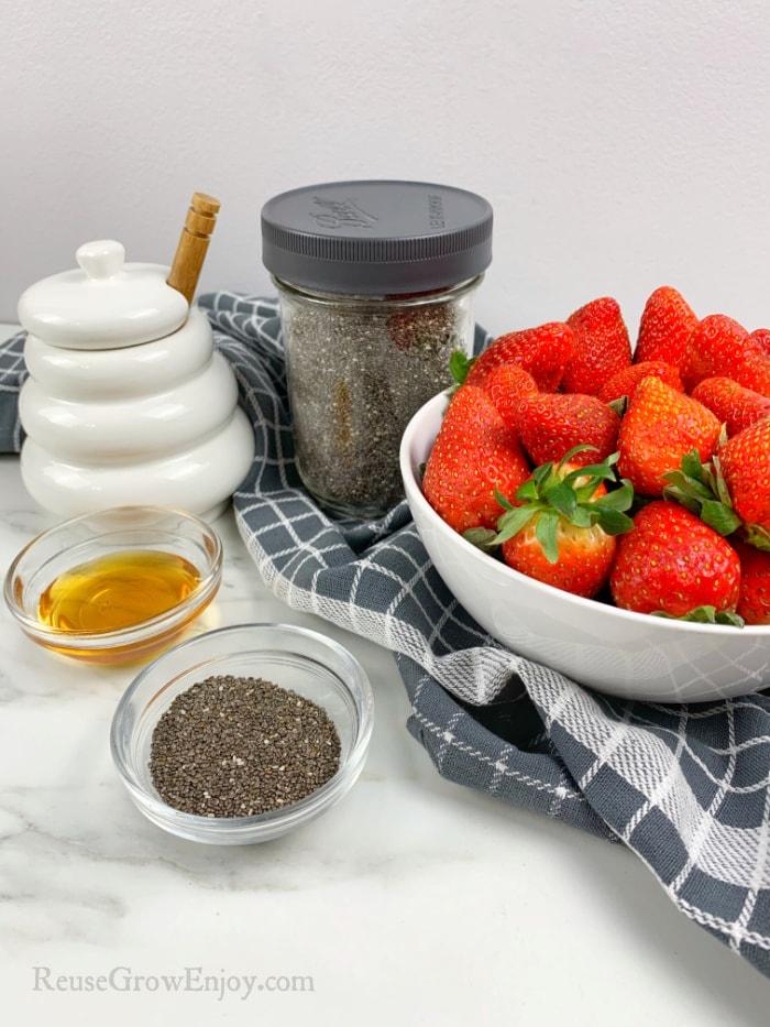 Jam Ingredients, strawberries, honey and chia seeds