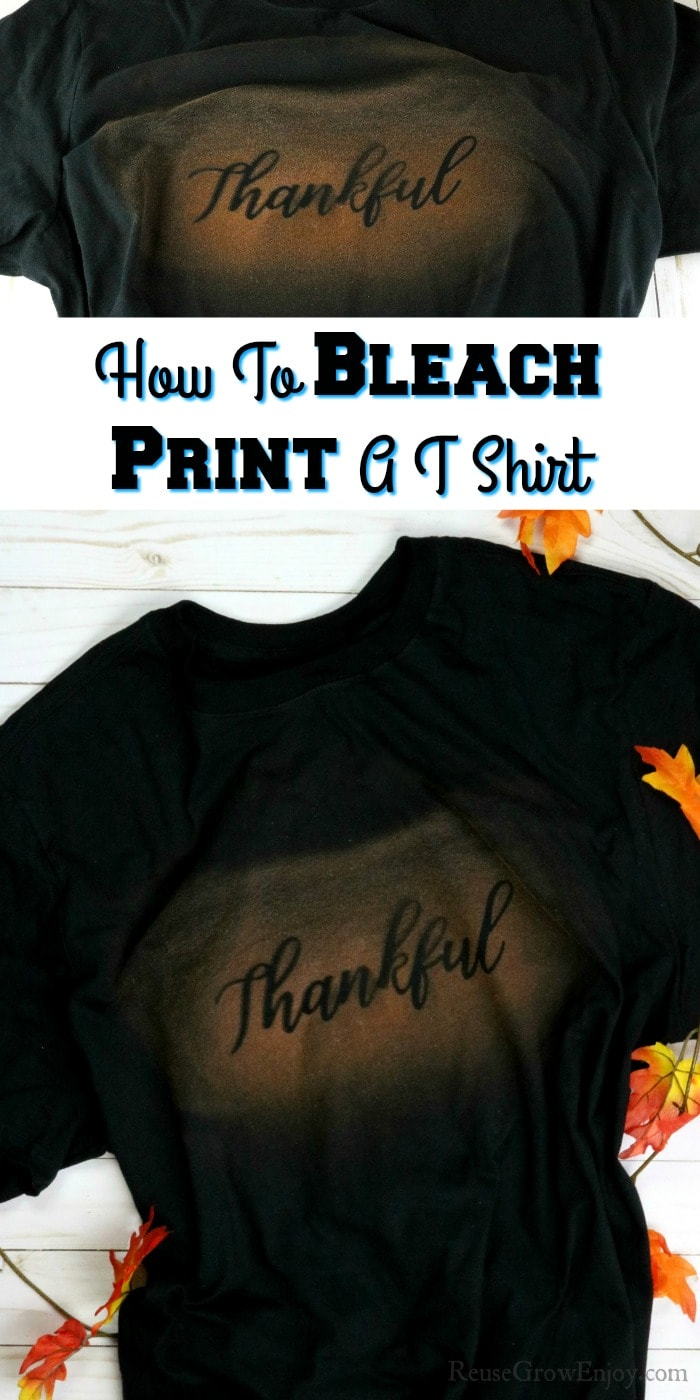 Black tee with word thankful bleach printed on it. Text overlay in middle
