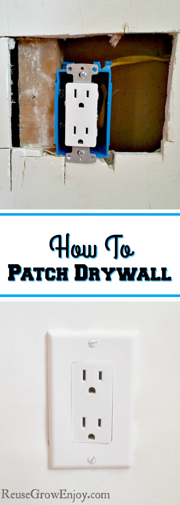 Do you know how to patch drywall? A little nail hole it is super easy as you just fill it in with some spackling. But what do you do if it is a large hole? I will show you how to patch drywall!