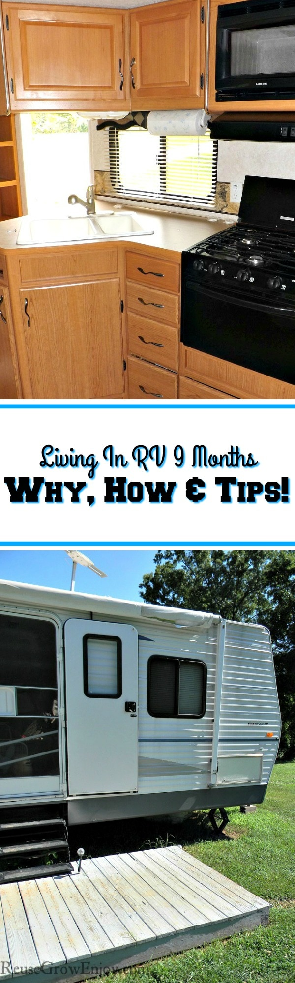 Have you ever thought about living in an RV? We did for 9 months! I a going to share our story of why, how and even share some RV living tips with you! These tips can be used for RV living or just for camping too.