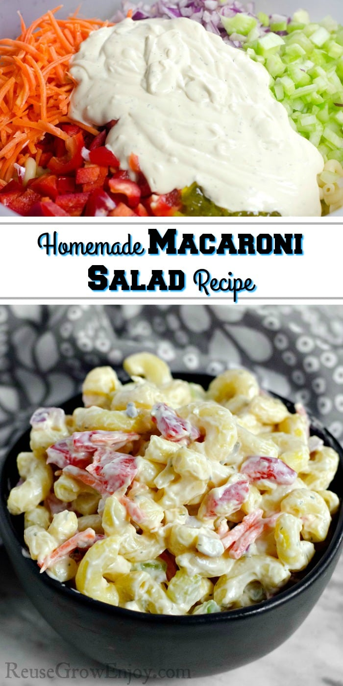 Top is Glob of dressing on top of diced items in bowl and at the bottom is a black bowl full of homemade macaroni salad with cloth napkin in back. Middle has a text overlay that says Homemade Macaroni Salad Recipe.