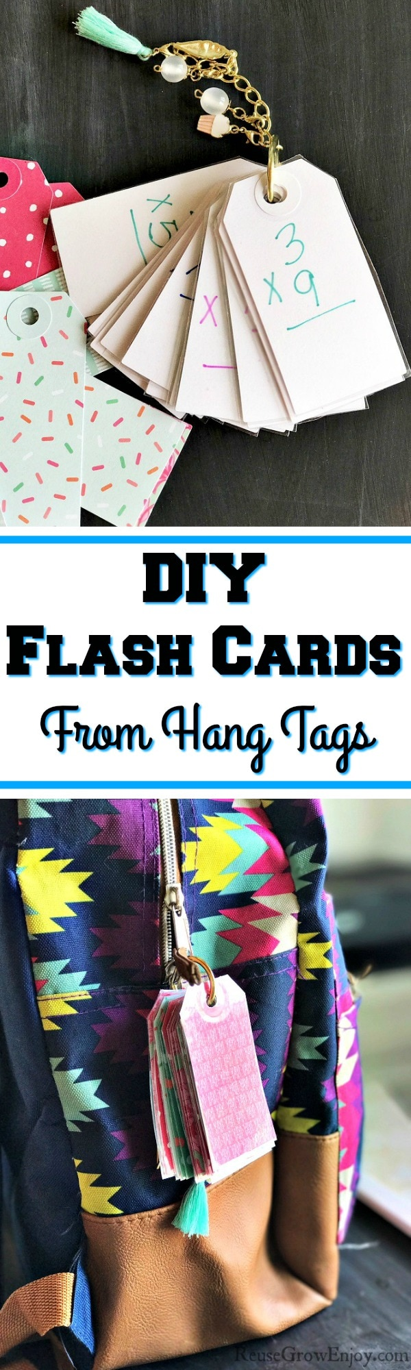 If the kids could use some flash cards, check this out. You can turn hang tags into DIY flash cards! Can be for math, spelling, reading or anything.