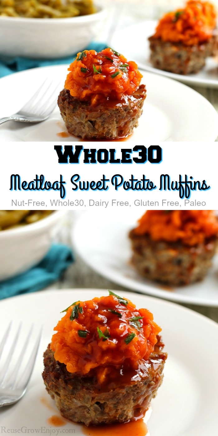 Meatloaf muffins on white plate top and bottom with text overlay in the middle