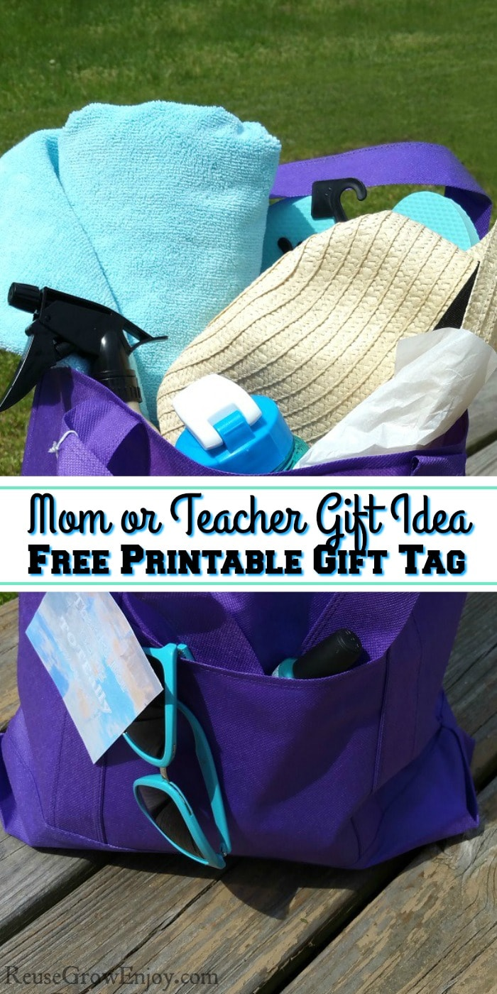 Mom Gift - Teacher Gift Thank You Tote Bag Filled With Summer Items Sitting On A Deck. With text overlay in the middle.