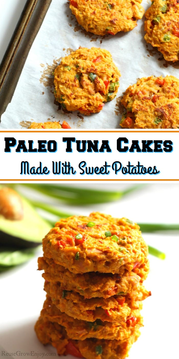 Tuna cakes on cookie sheet at the top. Stack of cooked cakes at the bottom. Text overlay in the middle.
