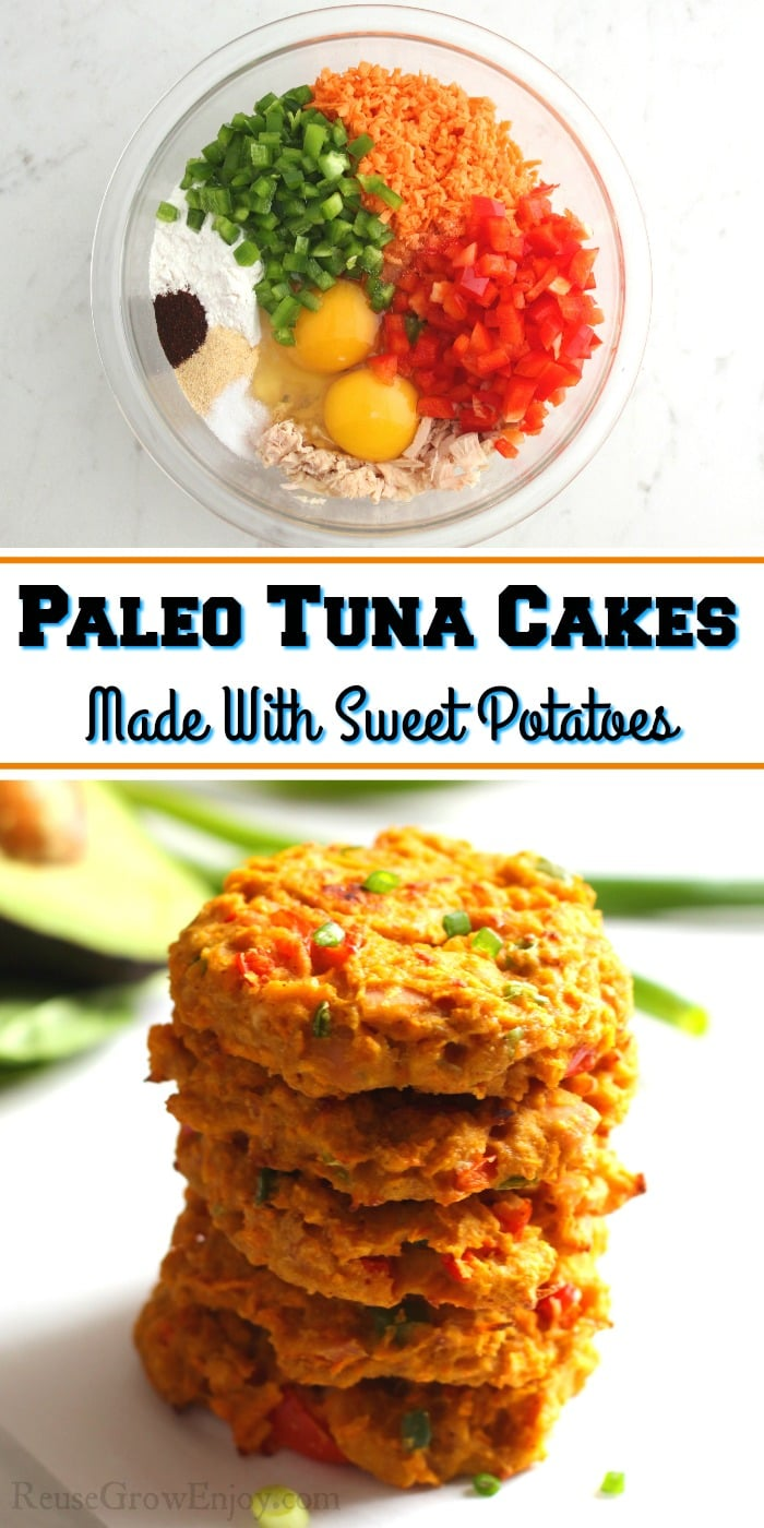 Bowl full of things to make the tuna cake at top. Bottom is a stack of cooked patties with text overlay in the middle.