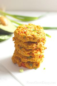 Stack of freshly make paleo tuna cakes