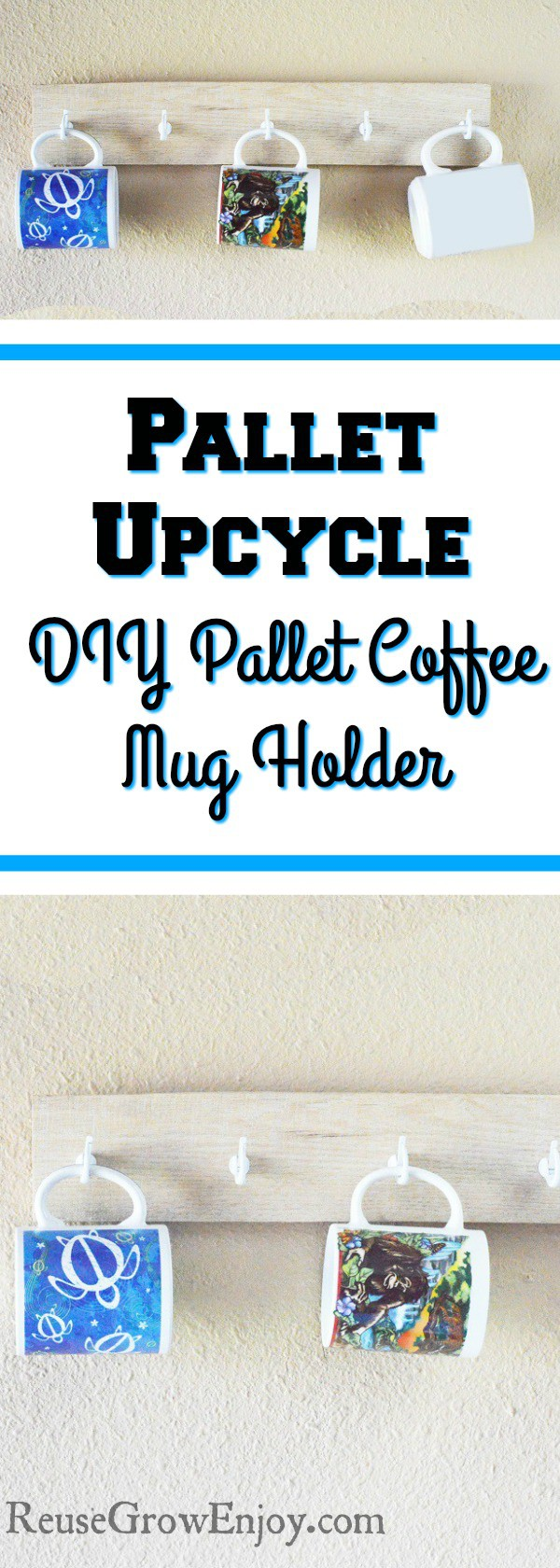 Looking for a pallet upcycle project to do? Check out this pretty easy DIY pallet coffee mug holder! Only takes a few minutes to make.