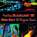 "Four different pictures of ParTees blacklight 3D mini golf with a text overlay that says ""ParTees Blacklight 3D Mini Golf At Virginia Beach"""