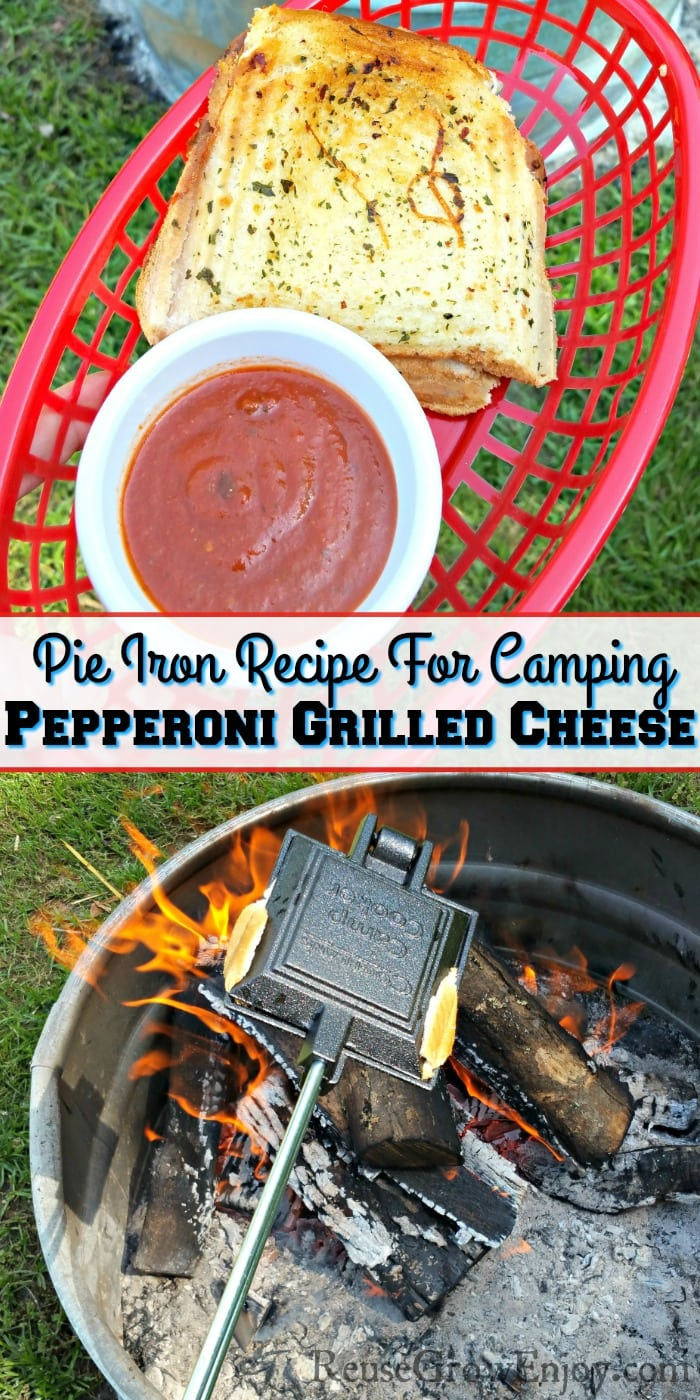Pepperoni grilled cheese in red basket with a dish or red dipping sauce. Bottom is pie iron cooking over campfire. Text overlay in the middle that says Pie Iron Recipe For Camping - Pepperoni Grilled Cheese.