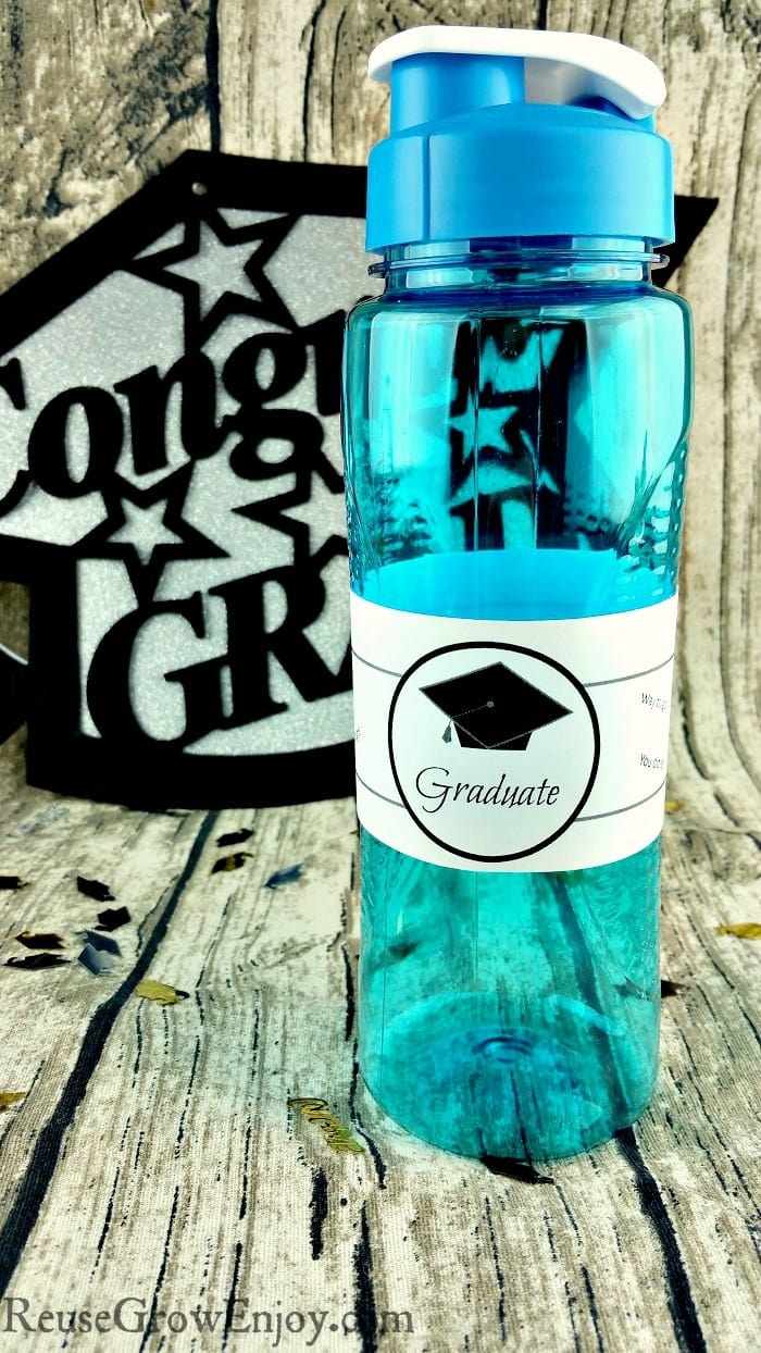 image about Free Printable Graduation Labels referred to as Printable Commencement Drinking water Bottle Label - Reuse Improve Delight in