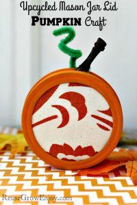 Pumpkin Craft Upcycled Mason Jar Lid