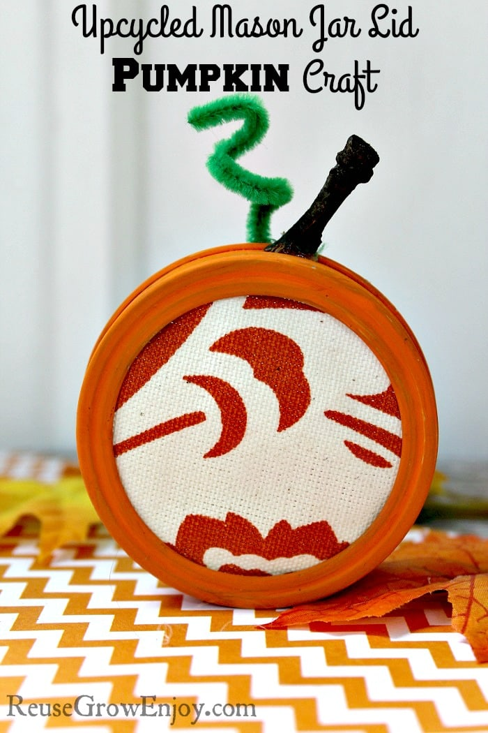 Pumpkin Craft Upcycled Mason Jar Lid