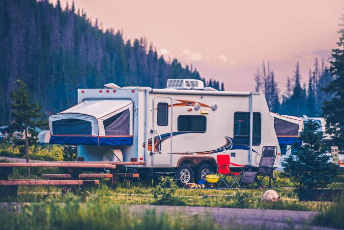 RV Camper On A Campsite
