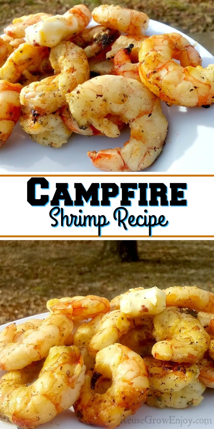"Cooked campfire shrimp with a text overly that says ""Campfire Shrimp Recipe""."