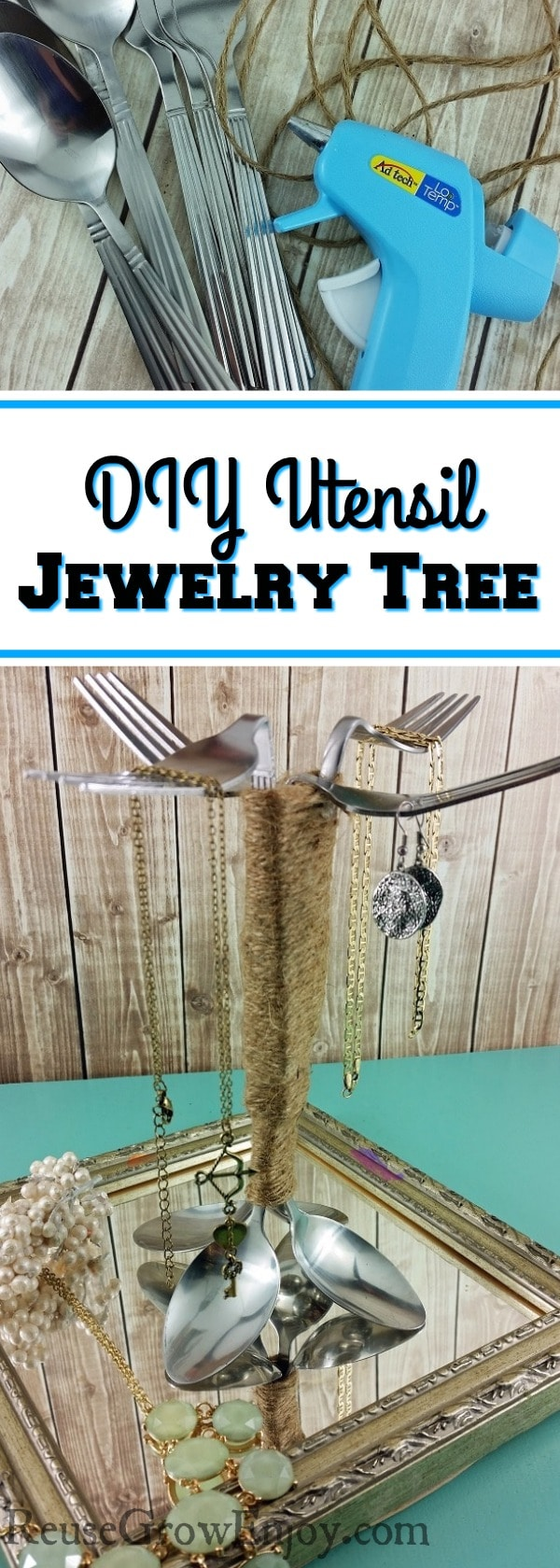 If you have some old utensils that are bent or rusted, I have a project for you to try. It is for this easy DIY Repurposed Utensil Jewelry Tree!