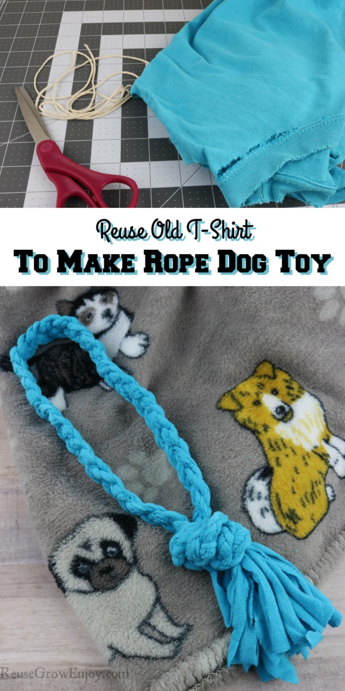 Items needed to make toy at top. Finished rope dog toy at bottom and text overlay in middle