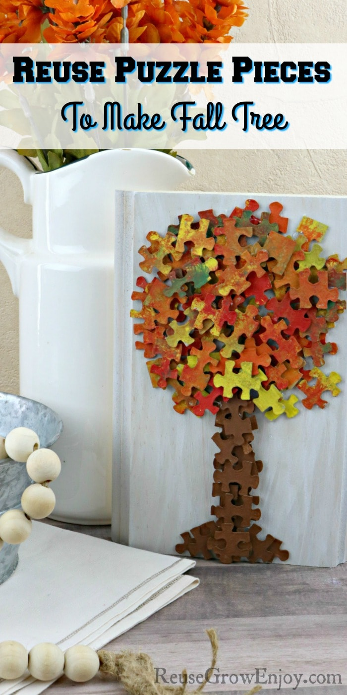 Fall decor with puzzle piece fall tree