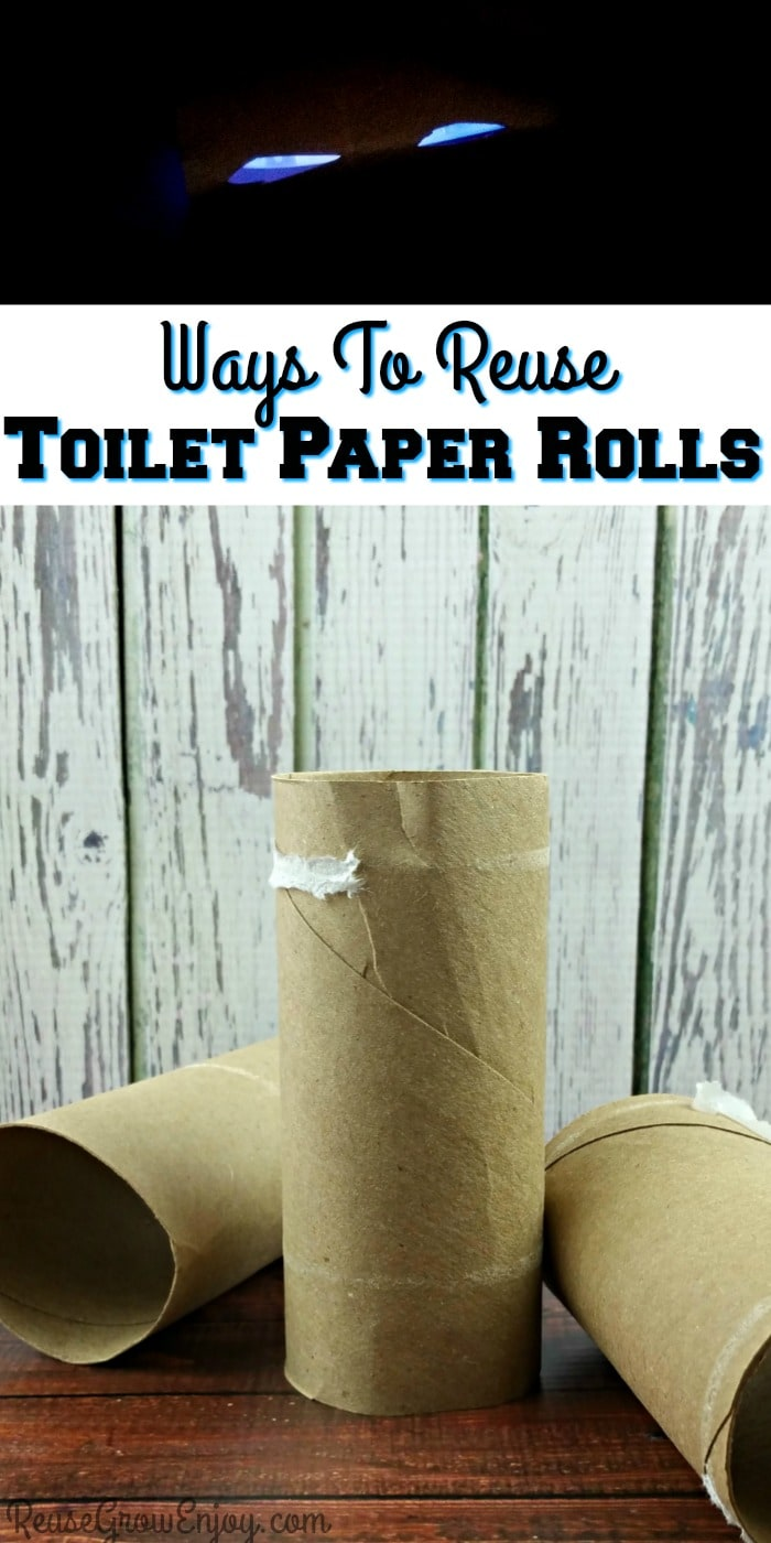 Empty toilet paper rolls at the bottom text overlay in the middle and scary glow in the dark eyes at the top.