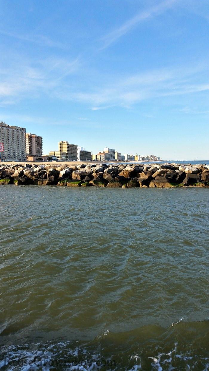 Virginia Beach coastline with breakwall to the side.