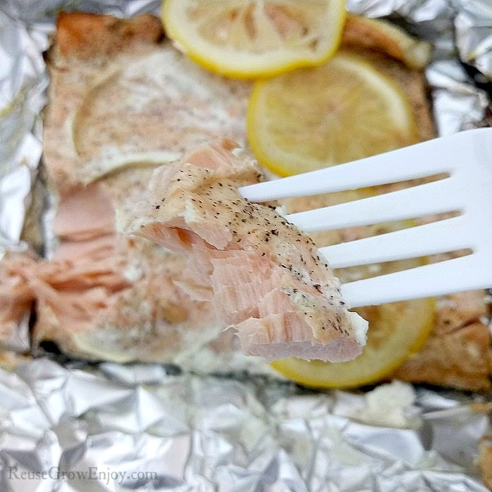 Bite of cooked salmon on a white plastic fork. Rest of foil pack in background.